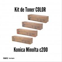 Kit de Tóner Minolta C200 C, M, Y, K