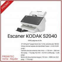 Escaner Kodak S2040 Alta Velocidad 600dpi Duplex 5000 Paginas Por Dia